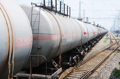 Tren del carro del tanque de petróleo Imagen de archivo libre de regalías