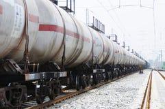 Tren del carro del tanque de petróleo Fotografía de archivo