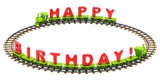 Tren del feliz cumpleaños Imágenes de archivo libres de regalías