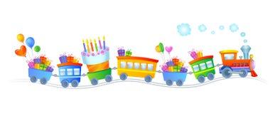 Tren del feliz cumpleaños stock de ilustración