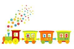 Tren del juguete con los cabritos felices stock de ilustración