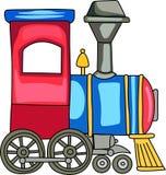 Tren del juguete del estaño con las cartas Imagen de archivo libre de regalías