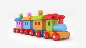 Tren del juguete del estaño con las cartas representación 3d Imagenes de archivo