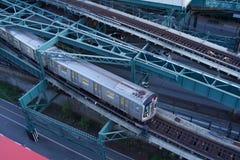 Tren del subterráneo siete de NYC fotografía de archivo libre de regalías