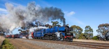 Tren del vapor, Clarkefield, Victoria, Australia, abril de 2017 fotografía de archivo