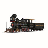 Tren del vapor con el carro en el fondo blanco Fotos de archivo libres de regalías