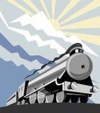 Tren del vapor con las montañas Imagenes de archivo