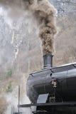 Tren del vapor en treno del ferrocarril un vapore Foto de archivo libre de regalías