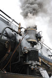 Tren del vapor en treno del ferrocarril un vapore Imágenes de archivo libres de regalías