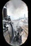 Tren del vapor en treno del ferrocarril un vapore Fotografía de archivo libre de regalías