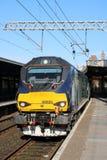 Tren diesel-eléctrico de la clase 68, estación de Carnforth Foto de archivo libre de regalías