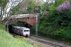Tren eléctrico bajo el puente Fotos de archivo libres de regalías