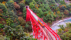 Tren en cruz roja del puente el río Foto de archivo libre de regalías