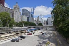 Tren en el bucle de Chicago Fotos de archivo