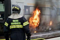 Tren en el fuego Foto de archivo libre de regalías