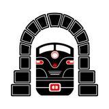 Tren en el icono del túnel, estilo simple Imagen de archivo
