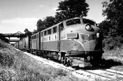Tren en el paso Fotos de archivo