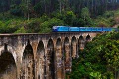 Tren en el puente viejo del arco Fotografía de archivo