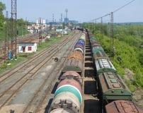 Tren en ferrocarril Imagen de archivo libre de regalías