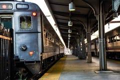 Tren en la estación de Hoboken, New Jersey Imagenes de archivo