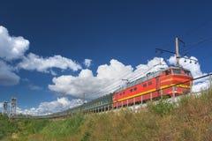 Tren en nubes Foto de archivo