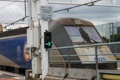 Tren euro del túnel Imagenes de archivo