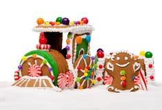 Tren expreso polar del pan de jengibre del día de fiesta de invierno foto de archivo libre de regalías