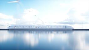 Tren futurista del monorrail de Speedly Concepto de futuro Gente y robots Energía del agua y eólica Animación realista 4K libre illustration