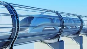 Tren futurista del monorrail en túnel representación 3d Imagen de archivo