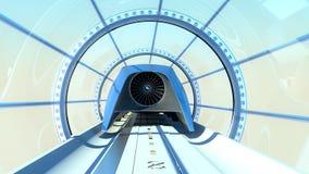 Tren futurista del monorrail en túnel representación 3d libre illustration