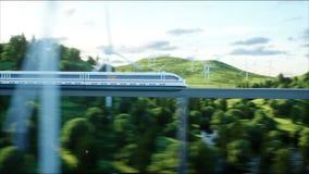 Tren futurista, moderno que pasa en el mono carril Concepto futuro ecológico Opinión aérea de la naturaleza 4K fotorrealista libre illustration