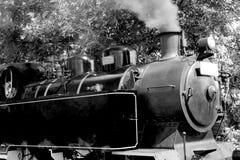 Tren histórico del vapor blanco y negro foto de archivo
