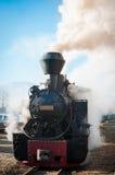 Tren histórico del vapor que pasa un pueblo rumano viejo Fotos de archivo libres de regalías