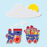 Tren lindo con las cajas y los baloons en un carte cadeaux ilustración del vector
