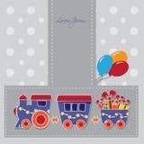 Tren lindo con las cajas y los baloons en un carte cadeaux stock de ilustración