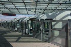 Tren listo para la salida, Copenhague, Dinamarca del metro fotografía de archivo libre de regalías