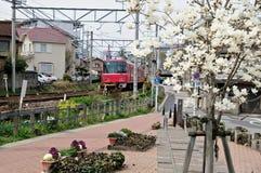 Tren local que pasa a través de ciudad japonesa Foto de archivo libre de regalías