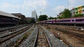 Tren locomotor que cambia el ferrocarril, Timelapse almacen de video