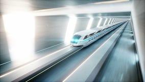 Tren moderno futurista, conducción rápida del monorrail en el túnel del fi del sci, coridor Concepto de futuro Animación realista ilustración del vector