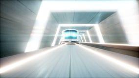 Tren moderno futurista, conducción rápida del monorrail en el túnel del fi del sci, coridor Concepto de futuro Animación realista stock de ilustración