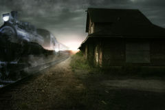 Tren nocturno expreso Imagenes de archivo