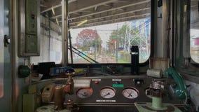 Tren POV de la cabina de conductores en las montañas Japón de Fuji