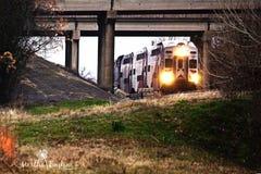 Tren que entra debajo del puente Fotografía de archivo libre de regalías