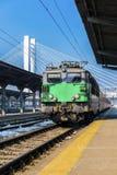 Tren que llega en el ferrocarril del norte de Bucarest Imagen de archivo libre de regalías