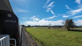 Tren que viaja a través de campo idílico Imagenes de archivo
