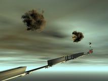 Tren que vuela al cielo Fotos de archivo libres de regalías