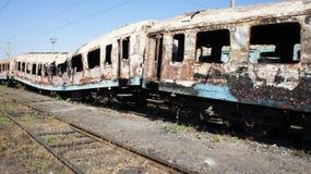 Tren quemado fotografía de archivo