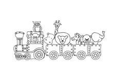 Tren retro del steampunk con los niños de los animales que colorean la página aislada en blanco Imagenes de archivo
