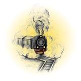 Tren retro, símbolo del vintage, emblema, plantilla de la etiqueta libre illustration