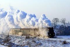 Tren retro viejo del vapor Fotografía de archivo libre de regalías